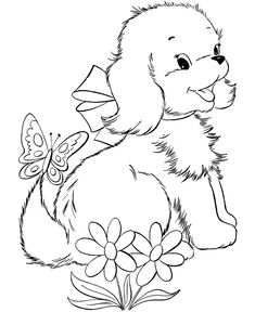 Cute puppy pictures to color 085 | Puppy pictures, Puppy flowers and Dog