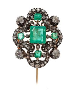 Early 19th Century Gold and Silver Emerald and Diamond Pin (12/5/2014 - Fine Jewelry and Timepieces: Live Salesroom Auction)