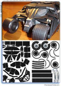 batmobile batman tumbler paper origami papercraft dark knight joker