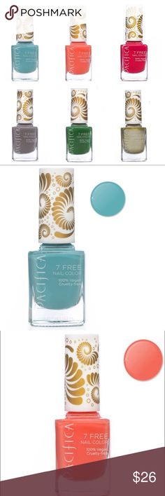 Pacifica Cosmetics Vegan Nail Polish (6) Pacifica Nail Polish is long lasting and void of many chemicals that one would find in traditional nail polish. Amazing vibrant colours that go on smooth and stay put. 100% vegan brush for easier application. This range is not all natural, however is formulated without parabens, phthalates (dibutyl phthalate), toluene, xylene, camphor, formaldehyde, resin, and animals. Heart of Gold, crimson kimono, drift, psychedelic jungle, nirvana, totally coral…