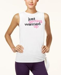 Energie Active Juniors' Side-Tie Graphic Tank Top - White XL