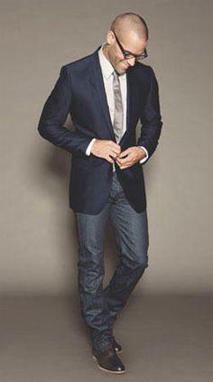 Men's Navy Blazer, White Vertical Striped Dress Shirt, Blue Jeans ...