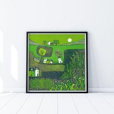 Art Collector Original linoleum Print, Limited Edition Lino Print, Linocut Prints Art, Wall Art for Living Room, Summer Landscape Art Print Summer Landscape, Landscape Art, Linocut Prints, Art Prints, Desk Gifts, Wall Planner, Art Calendar, Christmas Gifts For Mom, Living Room Art