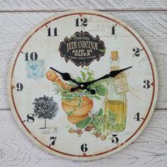 Shabby Rustic Chic Cream Olive Oil Wooden Wall Clock Italian Olio di Oliva 34cm