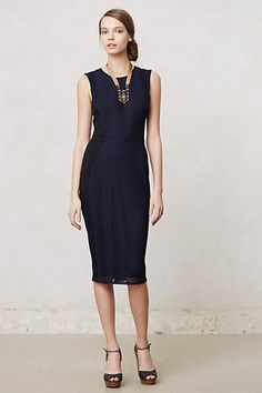A beautifully simple and perfect dress. Accessorize with a couple gold bangles. Islington Pencil Dress from Anthropologie. Navy Dress Outfits, Dressy Dresses, New Dress, Dress Up, Mad Men Fashion, Girl Fashion, Modest Fashion, Dress Fashion, Fashion Outfits