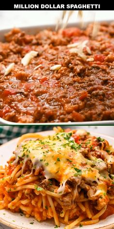 The best way to describe million dollar spaghetti is that it combines spaghetti and lasagna into one epic casserole. It's loaded with spaghetti noodles arranged in layers with cheese and meat sauce. Ground Beef Recipes Easy, Beef Recipes For Dinner, Dinner Crockpot, Pasta Recipes Mince, Baked Spaghetti Recipes, Recipes With Marinara Sauce, Recipes With Spaghetti Noodles, Leftover Spaghetti Noodles, Baked Spaghetti And Meatballs