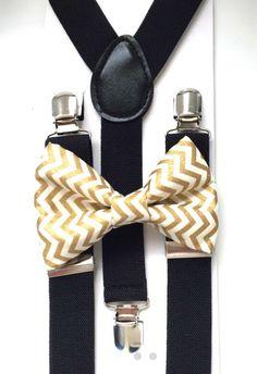 541316db831 Black suspenders and metallic gold chevron bow tie by BowTieFun