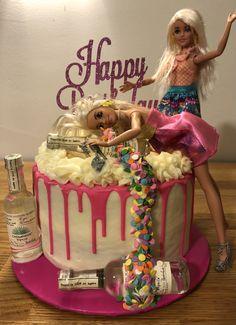 Birthday Cake Drink, Barbie Birthday Cake, Barbie Theme, Custom Birthday Cakes, Happy Birthday Cake Topper, Themed Birthday Cakes, Birthday Cake Decorating, Themed Cakes, Drunk Barbie Cake