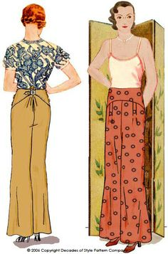 The trousers have a wide leg that is delicately shaped and flared at the hemline. True to the 30s silhouette, the fit at the hips does not have that much ease so choose your size based on your hip measurement. There are stitched down pleats in the front. These pleats can be released for a more relaxed fit at the hips.    The trousers have Front and Back Yokes with button closures at the side seams. A small belt and buckle at the back provide adjustable fit at the waist.  $18.00