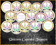 Unicorn Cupcake Toppers Troll Cupcakes, Unicorn Cupcakes Toppers, Etsy Store, Your Design, Card Stock, Vibrant Colors, Banner, Happy Birthday, Banner Stands