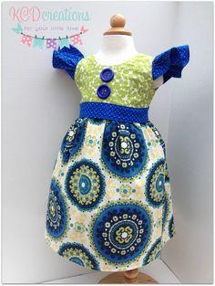 Flutter Sleeve Dress Fall Dress Medallions Dress by KCDcreations, $38.00