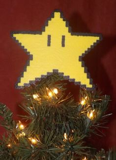 Retro Super Mario Bros Christmas Tree star topper. Hand made! Great gamer gift