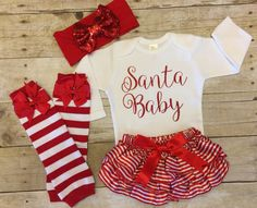 Christmas Outfit Infant Christmas Outfit by KeepsakeKonnections - Fashion City Baby's First Christmas Outfit, Girls Christmas Outfits, Baby Girl Christmas, Cute Outfits For Kids, Holiday Outfits, Christmas Baby Clothes, Christmas Dresses, Christmas Ideas, Santa Baby
