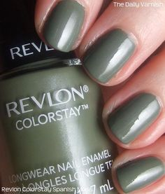 """Revlon """"Spanish Moss"""" - My favorite green :) I've always loved sage greens, and this is prefect :) Plus, this is my favorite drugstore brand for polish, so it's a win-win :) Get Nails, How To Do Nails, Hair And Nails, Green Nail Polish, Nail Polish Colors, Nail Polishes, Moss Paint, Subtle Nails, Spanish Moss"""