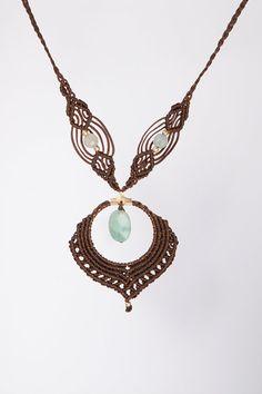 Aquamarin Brown Elegant macrame necklace, Heavenly delicate macrame necklace