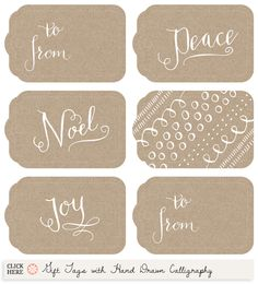 Printable Gift Tags with Hand Drawn Calligraphy from Muffin Grayson, (check out Brown Paper and Doillies 2 also) Noel Christmas, Christmas Wrapping, All Things Christmas, Christmas Holidays, Christmas Crafts, Xmas, Free Printable Gift Tags, Free Printables, Printable Templates