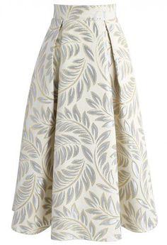 Golden Olive Jacquard Midi Skirt - Skirt - Bottoms - Retro, Indie and Unique Fashion Olive Green Skirt, White Midi Skirt, Calf Length Skirts, Metallic Skirt, Printed Skirts, Unique Fashion, Cheap Fashion, Dress Skirt, Skirt Outfits
