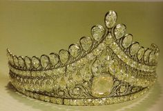 The bridal tiara of the imperial family of Russia with the big pink diamond center stone.