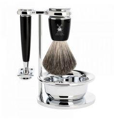 Muhle Rytmo Shaving Set with Gillette Fusion Razor and Pure Badger Brush, Ash Wood