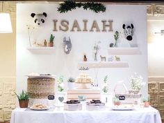 Isaiah Park's Modern Safari birthday party is amazing! Check out the dessert table! Love the backdrop! See more party ideas and share yours at CatchMyParty.com