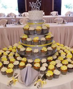 Calumet Bakery Cupcake wedding display yellow and steel grey custom stand