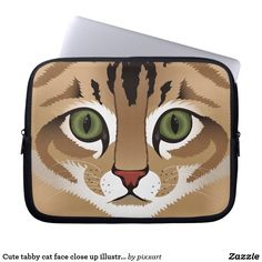 Cute tabby cat face close up illustration laptop sleeve