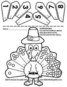 This set of Thanksgiving cut and paste numberlines are designed for Kindergarten! Includes Turkey numberline which is also available as a lo. Kindergarten Thanksgiving Crafts, Thanksgiving Worksheets, Thanksgiving Coloring Pages, Kindergarten Christmas, Thanksgiving Games, Preschool Worksheets, Kindergarten Activities, Letter Matching, Cut And Paste