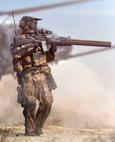 Infantry sniper armed with rail gun. Cyberpunk, Futuristic Armour, Futuristic Art, Science Fiction, Armor Concept, Concept Art, Wallpaper Science, Killzone Shadow Fall, Sci Fi Armor