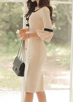 Split Neck Flare Sleeve Bowknot Embellished Beige Dress | Rosewe.com - USD $33.08