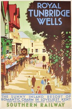 Lovely place Royal Tunbridge Wells in Kent, England 1937 travel poster by Kenneth Shoesmith Posters Uk, Train Posters, Railway Posters, Vintage Travel Posters, Vintage Ads, British Travel, Travel Uk, Tourism Poster, Southern Railways