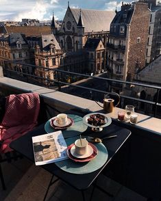 Coffee with a view! ☕️☀️Thank you for showing us how you style a balcony? Rio Sena, H&m Home, Coffee And Books, Grand Tour, Coffee Cafe, Travel Aesthetic, France, Balcony, Wanderlust
