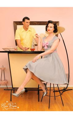 Pinup Couture - Heidi Dress in Grey and Pink with Pink Bow | Pinup Girl Clothing