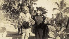 Albert Einstein & his wife visiting a private estate in Palm Springs. Now known as The Willows