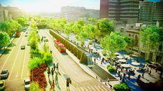 architect fernando romero has revealed plans for a linear park to be built on avenida chapultepec, one of mexico city's oldest street. México City, City Streets, Eco City, Landscape Architecture, Landscape Design, Green Architecture, Architecture Design, Parque Linear, Linear Park