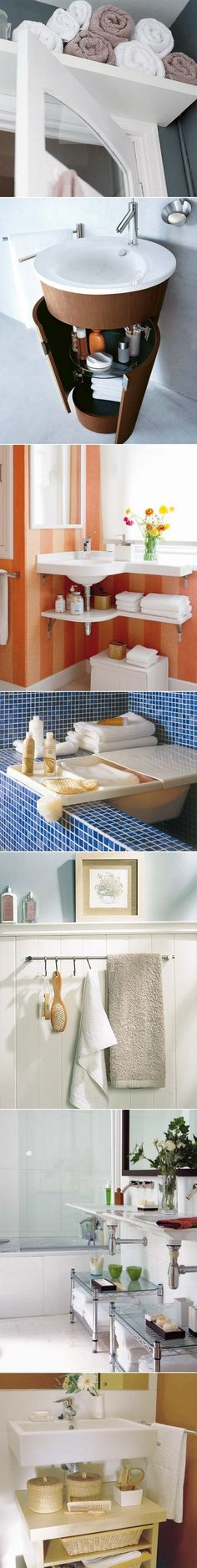 DIY Small Bathroom storage ideas. Take away SHELF ABOVE DOORS. Seen this often…