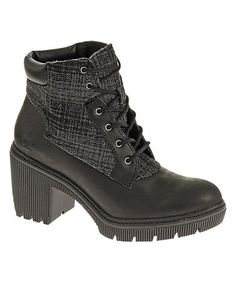 Black & Beige Tennille Leather Boot by CAT Footwear, $59 !!  #zulily #zulilyfinds