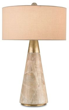 Babylon Table Lamp ~ 24in H  Washed Wood finishing and Hammered Brass details lend the Babylon Table Lamp unparalleled sophistication. On trend with the geometric and gold leaf aspects of home interiors, the finishing and shape of this lamp also possess a timeless quality.
