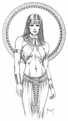 Goddess Art, Egyptian Goddess, Egyptian Art, Isis Goddess, Egyptian Jewelry, Sexy Drawings, Art Drawings Sketches, Tattoo Drawings, Evvi Art