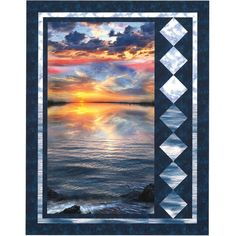 """Tranquility designed by Karen Bialik featuring """"Sunset Sail"""" fabrics by Timeless Treasures. Finished size is approximately x 49 Kit includes fabric and panel for quilt top and binding. Free pattern is available at Beach Themed Quilts, Fabric Panel Quilts, Fabric Panels, Wildlife Quilts, Turtle Quilt, Beach Quilt, Timeless Treasures Fabric, Scrap Quilt Patterns, Flannel Quilts"""