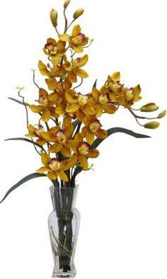 Cymbidium Silk Orchid Arrangement Silk Orchids, Orchid Arrangements, Cut Flowers, Glass Vase, Bulb, Decorations, Contemporary, Garden, Ideas