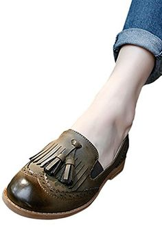 Ace Womens Casual Real Leather Pull-on Flats Brogue Dress Shoes (7.5, army green) - Brought to you by Avarsha.com