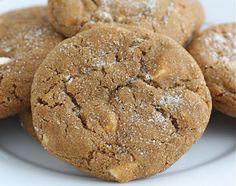 soft-gingersnap-cookies. Ingredients: butter, sugar, molasses, canola oil, vanilla, baking soda, salt, cinnamon, cloves, ginger, eggs, flour, white chocolate chunks