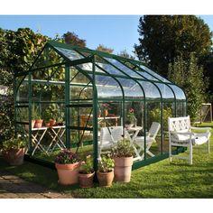 Serre de jardin Suprême 8.3m² en aluminium et verre trempé 3mm coloris vert - Halls - Maison Facile : www.maison-facile.com