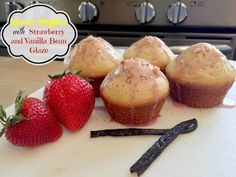Lemon Muffins with Strawberry and Vanilla Bean Glaze