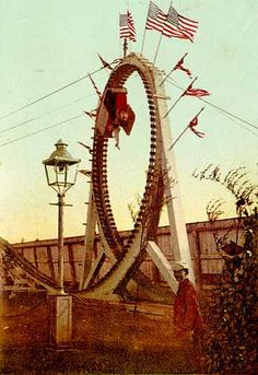 The Flip Flap Railroad was the first looping roller coaster. Its high G forces sometimes whiplashed rider's necks. - 1895 Sea Lion Park, Coney Island