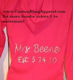 Custom & Personalized Bridal hoodie jacket for any Bride. Perfect bridal shower gift for wedding, name and wedding date in bling