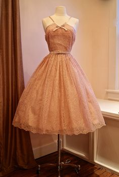 1950s Style Party Dress in Rose Blush Embroidered by xtabayvintage, $698.00