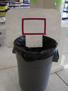Homemade Trash Can Basketball Backboard for March Madness Classroom games