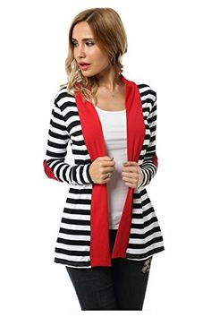 Aifer Womens Striped Long Sleeve Shawl Collar Elbow Patch Open Front Cardigan Sweater Red Medium >>> See this great product.