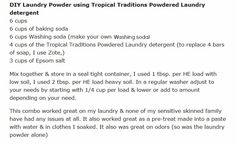 DIY Laundry Powder using Tropical Traditions Powdered Laundry detergent ..... Natural & Frugal: raising 6 kids on facebook & @NaturalCheree on Twitter & Just Cheree on Pinterest ... Check out my review of their laundry powder here blog post http://raising6kids.wordpress.com/2013/03/27/powdered-laundry-detergent/